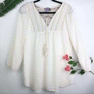 Anthropologie one September tassel peasant blouse